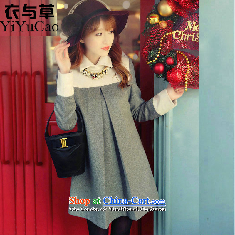 Yi with grass fall for women in the new long winter)?? jacket coat female Hair Girl a wool coat Women's jacket for autumn and winter coats mn06 Sau San Ni-gray S