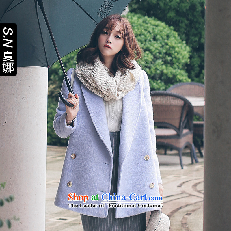 Ha-na 2015 Korean New Fall_Winter Collections in a field of Sau San long wool coat gross a wool coat female Blue聽M
