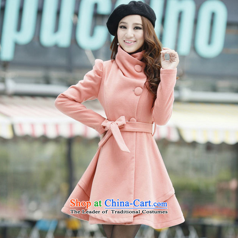 The US's?2015 Fall/Winter Collections for women won the new version in the relaxd Long Hoodie gross? jacket female?1272 pink?M