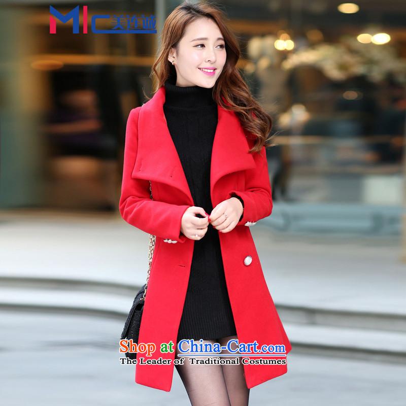 Mei Lin Shing 2015 autumn and winter new women's gross coats Korean? fashion, long thin? The Sau San Video Wind Jacket RedS