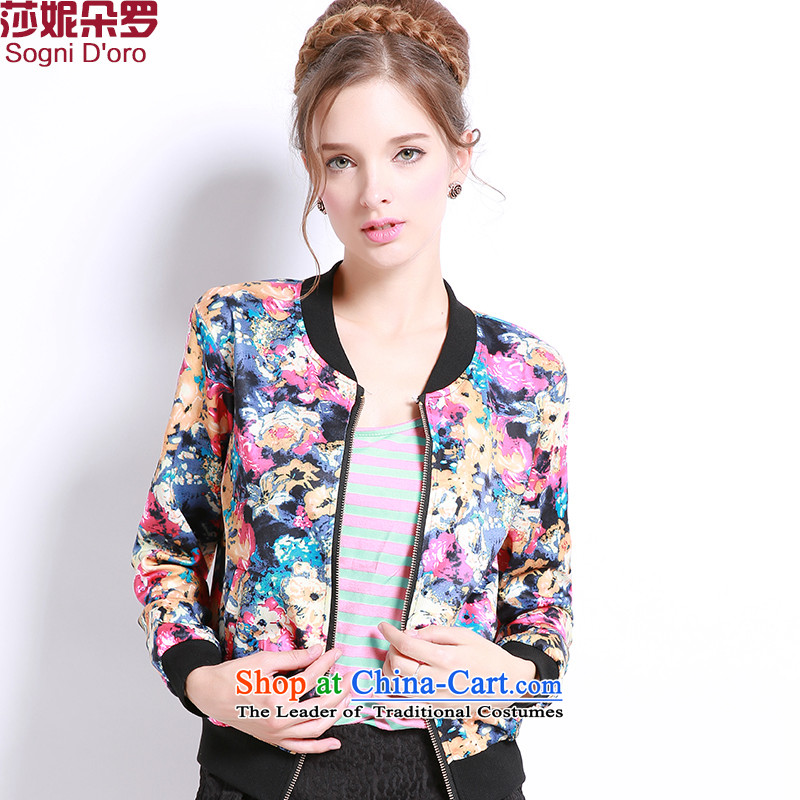 Luo Shani flower girl jackets expertise code mm Mount to increase fall 200 catties thick sister sweater small cardigan floral 6XL bis 13243
