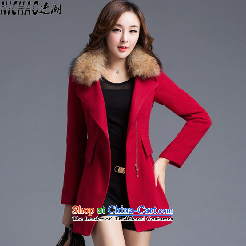 The gross imbalance? 2015 winter coats female new Korean long thin graphics Sau San, a female _with gross jacket_ large red聽M