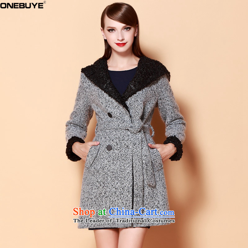 2015 Autumn and winter ONEBUYE new double-jacket coat? female gross gray燤