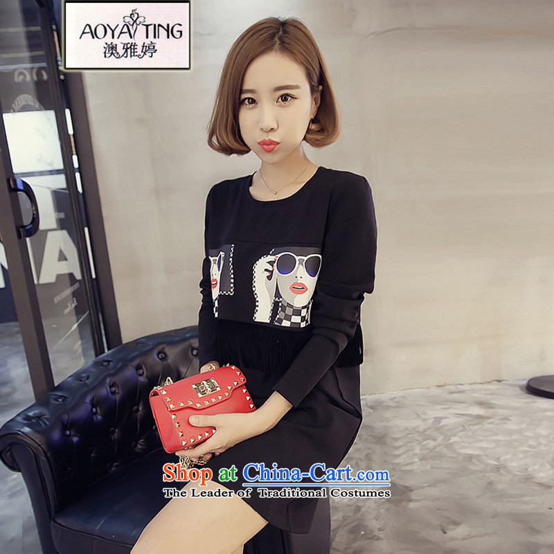 O Ya-ting to increase women's code 2015 autumn and winter new mm thick Korean version stamp in the thin edging long loose long-sleeved T-shirt with round collar dresses female black3XL145-165 recommends that you Jin