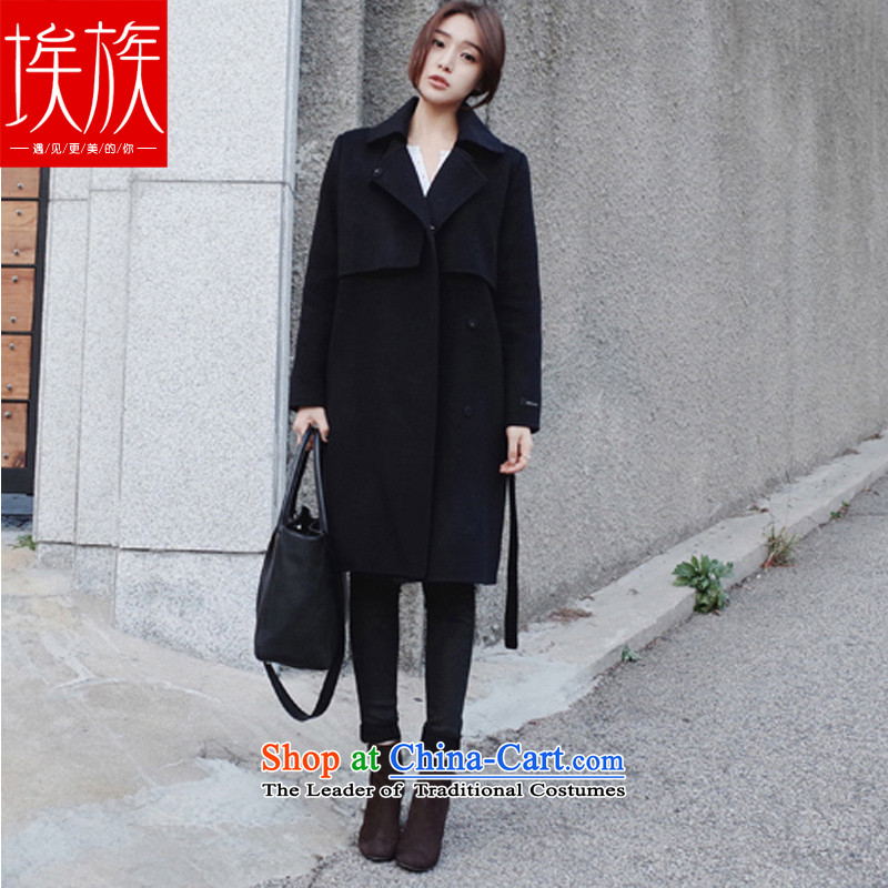 Egyptian wool coat women about what a wool coat autumn and winter 2015 won the new version of the ATHENS black燬