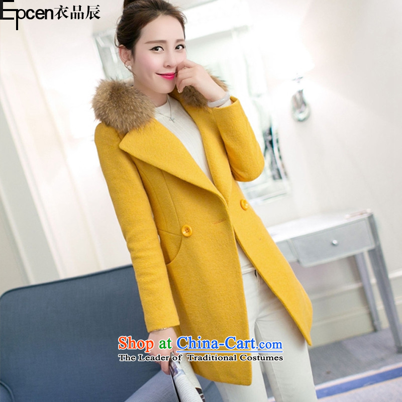 Yi Jin _epcen No. 2015_, autumn and winter new products for women in thick long coats NRJ1661 gross Sau San? yellow聽S