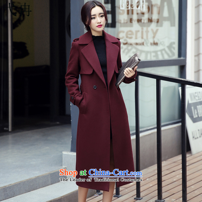 Cruise in the Advanced 2015 winter coats women? Boxed new women's autumn, Korean long thin video   Gross Y244 female jacket coat? deep red     L