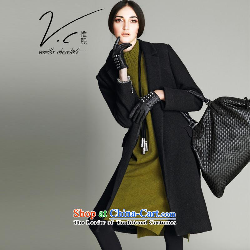 V.c korehiro women, Sau San Western business suits gross? autumn and winter 2015 Europe Coat new wool coat thick blackM Ni