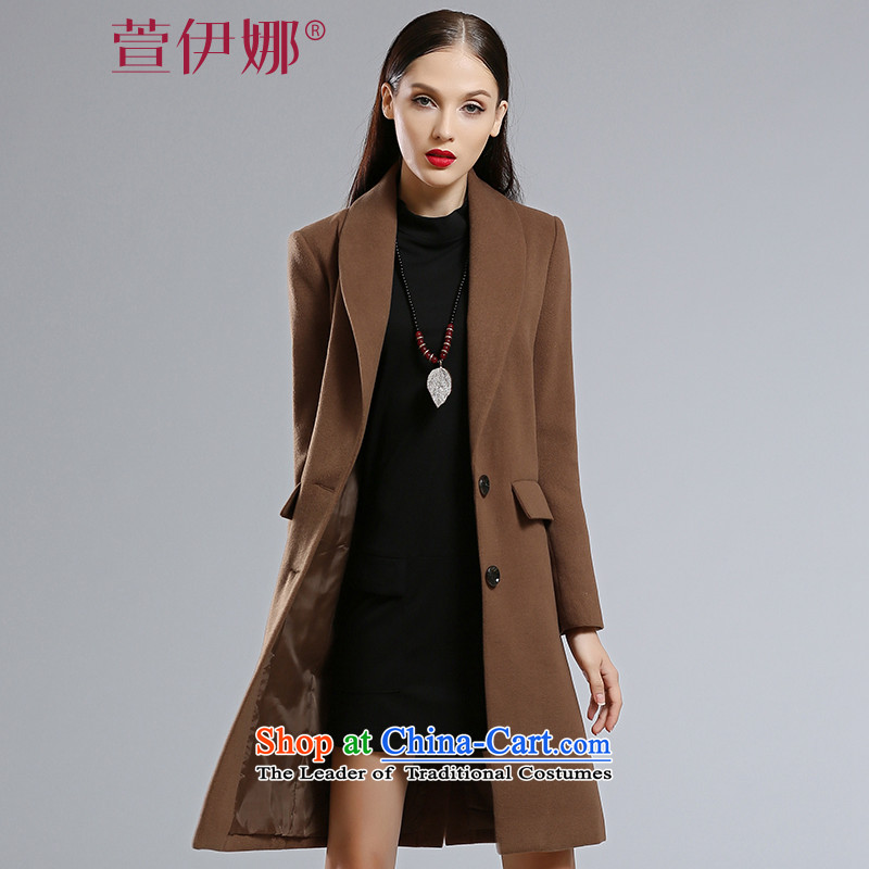 Xuan ina 2015 autumn and winter new gross female Korean jacket is stylish in Sau San long temperament pure color lapel gross flows of female JXYL8576 coat? Brown燤