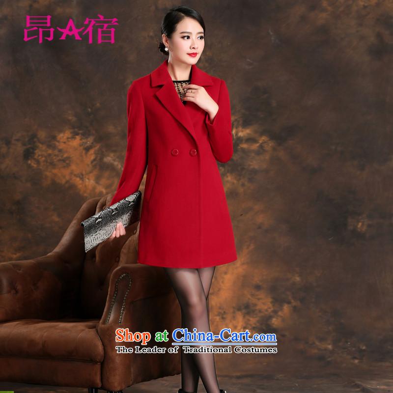 Daw Aung San Suu Kyi accommodation 2015 Fall_Winter Collections cashmere overcoat new female plain manual stylish wool velvet cloak over the medium to longer term? C150820 jacket, Red燣