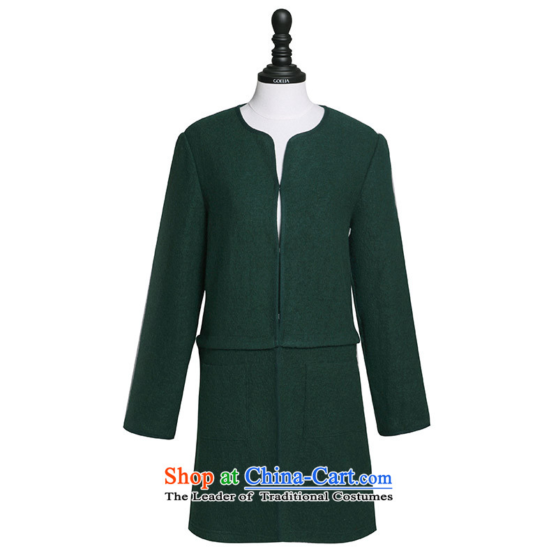 Song Leah GOELIA Women 2015 Autumn new direct body shape 15CR6E970 G91 coats , L, Song dark green (GOELIA Leah) , , , shopping on the Internet