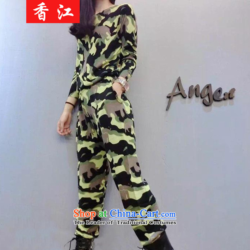 Xiang Jiang thick mm package autumn 2015 new to increase women's code thick sister camouflage sweater Harun pants and two piece 200 catties 5791 large green code 4XL recommendations 160-175 catty