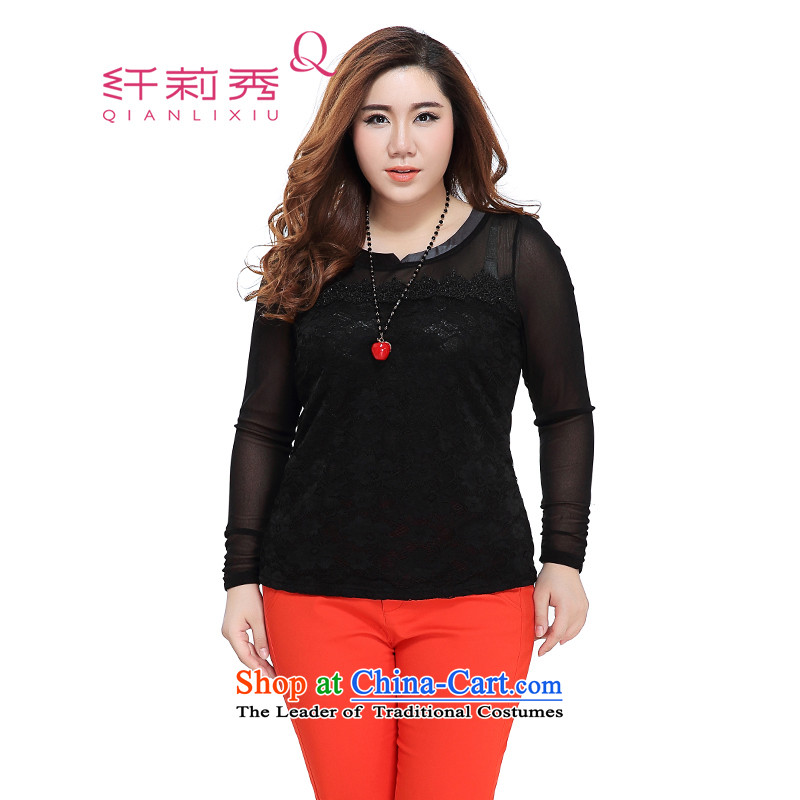 The former Yugoslavia Li Sau 2015 autumn large new mount female comfortable round-neck collar lei silk fabric wild forming the Netherlands Netherlands 0099 lace female black聽3XL