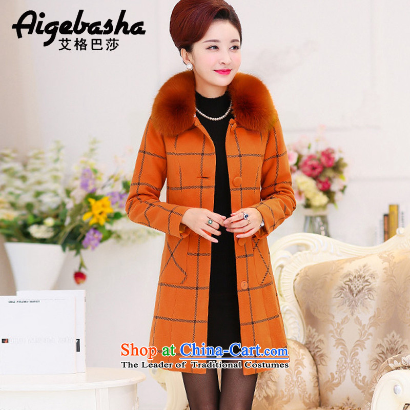 The Basha2015 autumn and winter new larger thick and long for Gross Gross? a wool coat female jacketA8088ORANGEXL