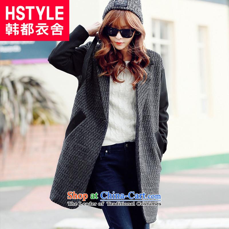 Korea has the Korean version of the Dag Hammarskjöld yi 2015 winter clothing new women stitching Straight thin hair? jacket graphics GD50562blackM