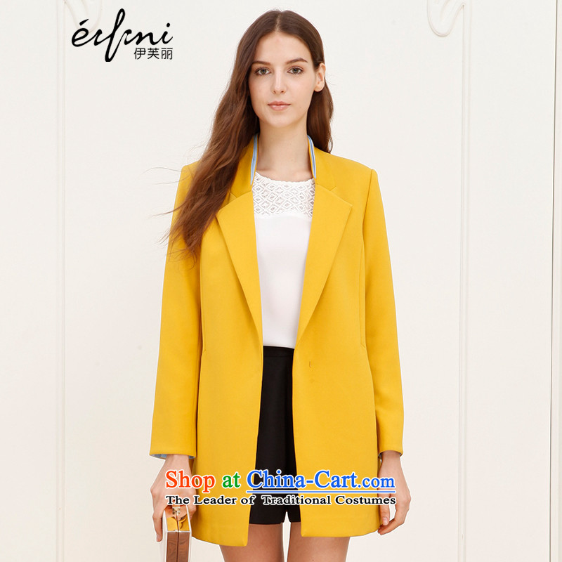 For a limited time (】 【 Shang xin], Evelyn Lai 2015 autumn and winter new products to suit in a mock-neck long small jacket 140833413643 caramel L