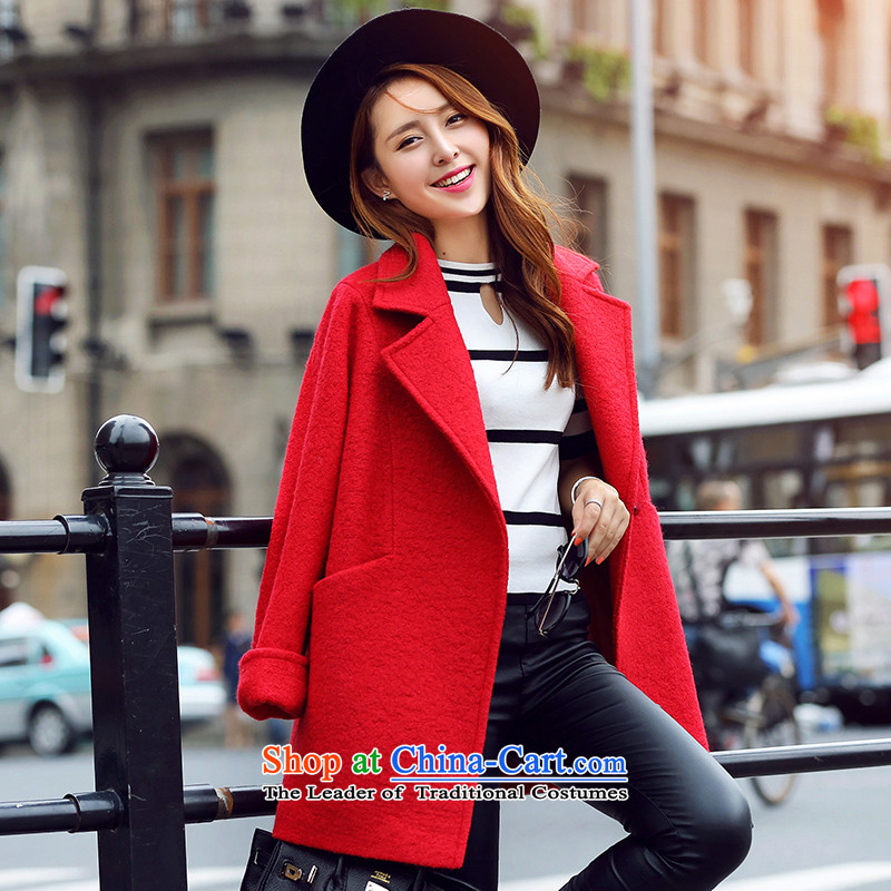 Park woke up to the autumn of 2015, the Korean version of the new liberal suits for long-sleeved temperament Winter Female hair red jacket? M