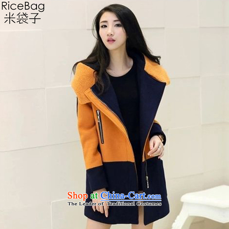 Rice bags聽WOMEN FALL 2015 new products Sau San grid larger a wool coat jacket coat? female gross聽stitching ANTHURIAM聽L APRIL 1