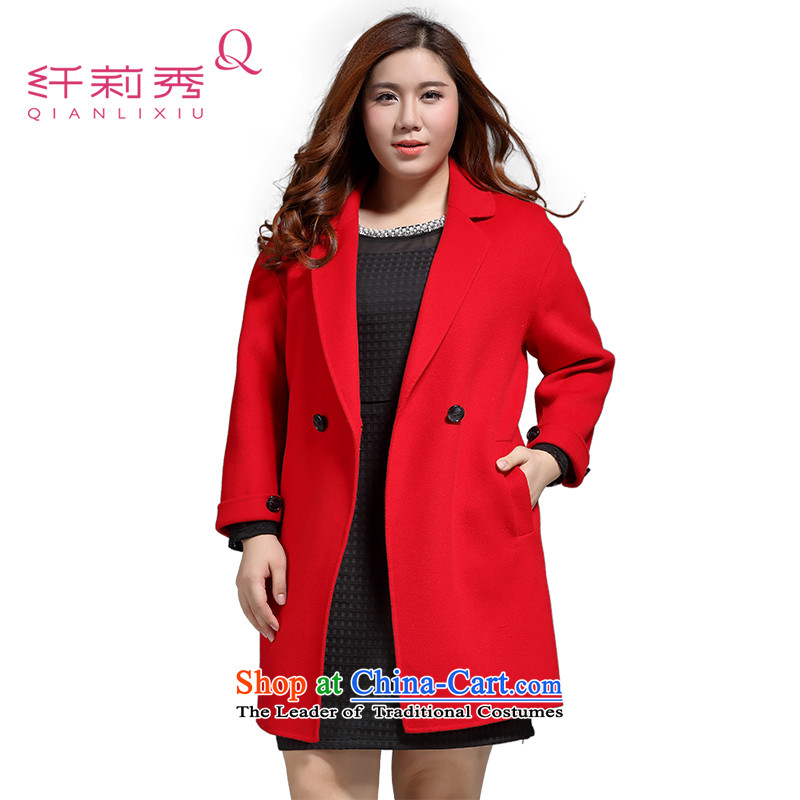 The former Yugoslavia Li Sau 2015 Fall_Winter Collections new larger female classic reverse collar video thin warm wool double-side coats female 0591 Crimson Red?3XL