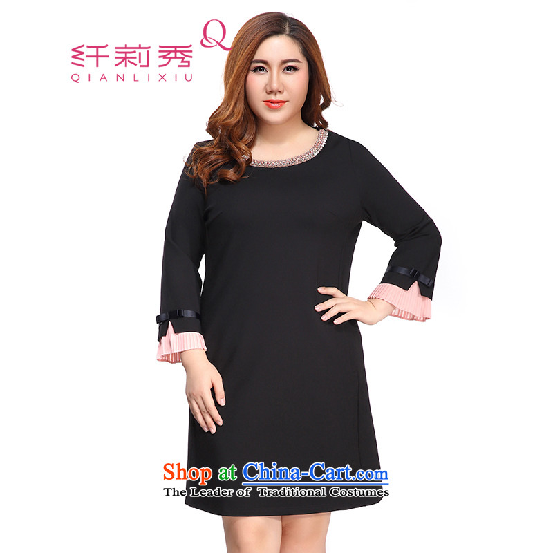 The former Yugoslavia Li Sau 2015 autumn large new mount female elastic round-neck collar chiffon pressure folds of 8 horn cuff dresses 0515 female black聽4XL