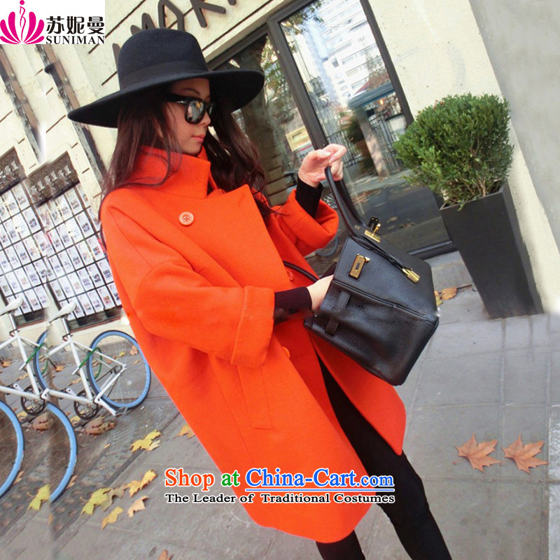 Su Connie Cayman 2015 autumn and winter new thick Connie sub windbreaker loose wool rib cage-cashmere overcoat so coat in long red-orange plus cotton S