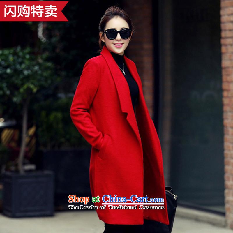 Pure color in long Sau San lapel a wool coat red燲L