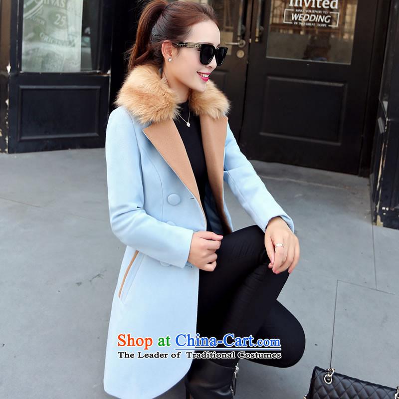 燣oad the autumn 2015 has sin new Korean citizenry video thin solid stylish and simple gross? female blue jacket�   L