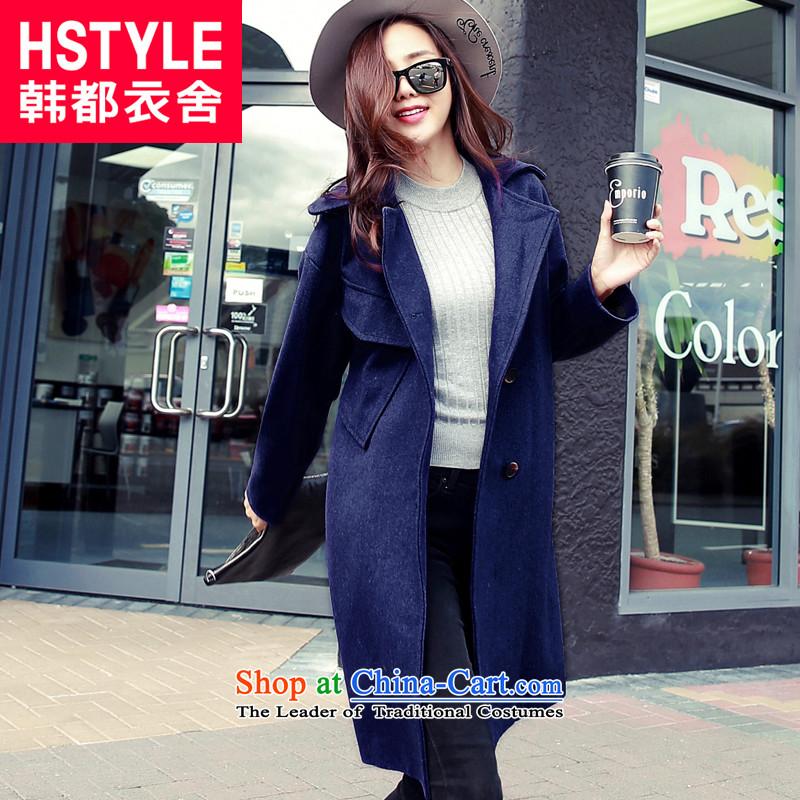 Korea has the Korean version of the Dag Hammarskj枚ld yi 2015 winter clothing new women's loose video thin lapel in long hair?6聽blue jacket NH4636聽M