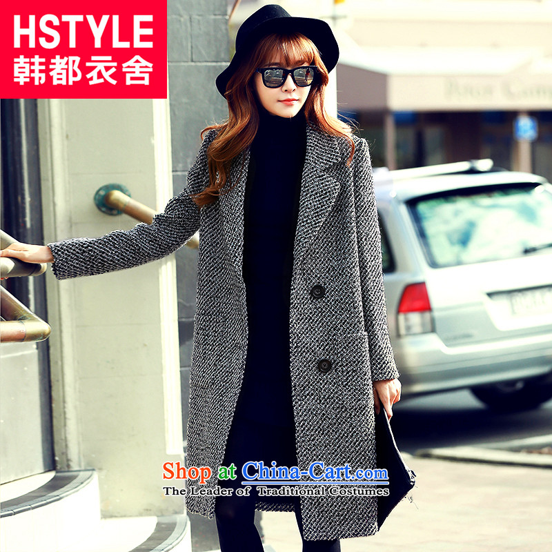 Korea has the Korean version of the Dag Hammarskj?ld yi 2015 winter clothing new women's thick tweed Sau San lapel long hair?2?gray jacket OI5046?M