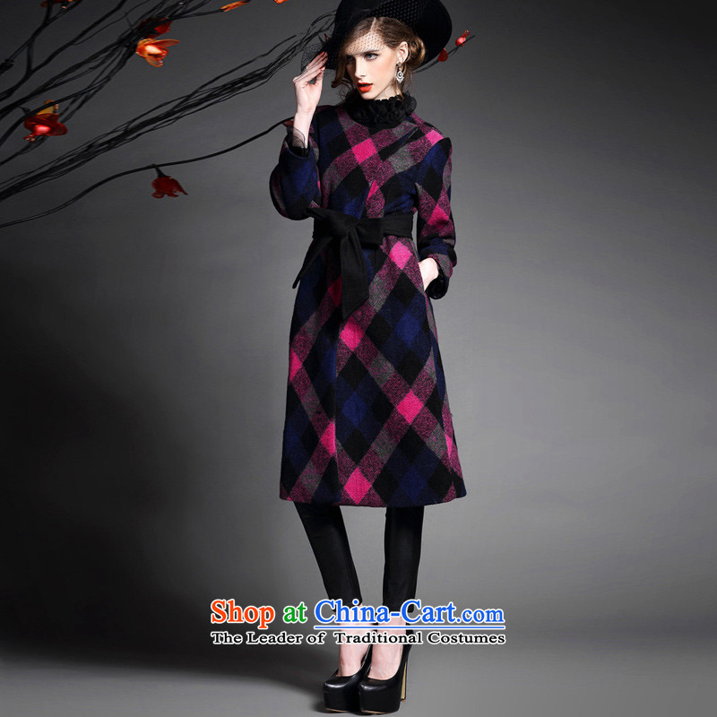 Also, 2015 Winter Female Western big latticed long-sleeved tether strap buckle single row long hair a wool coat jacket female red燬