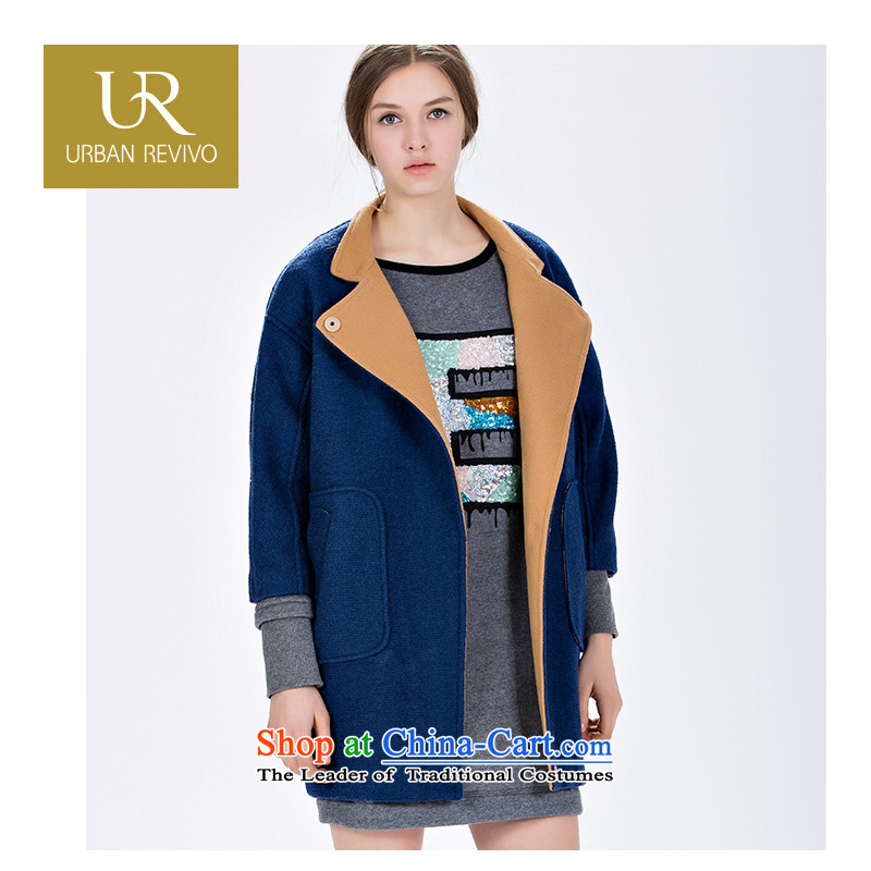 Ur youth female trend of new products to the ribs-Bi-color coats YV14D49S1GN004 gross? dark blue L