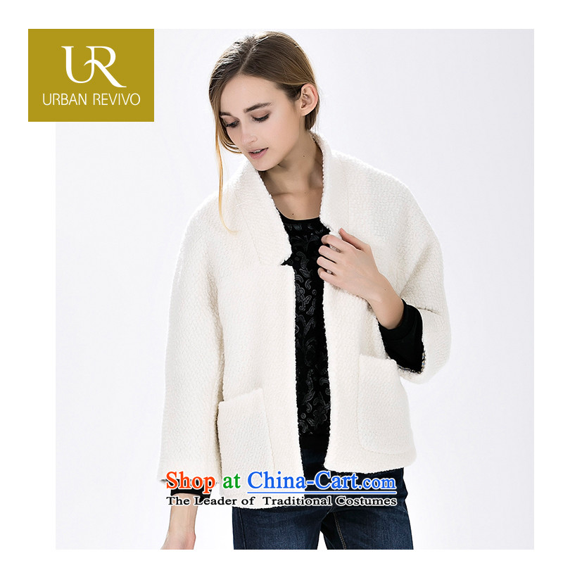 Ur youth female autumn and winter break new Pocket trim hair? leisure jacket YL15A01S1BN001 rice white燣