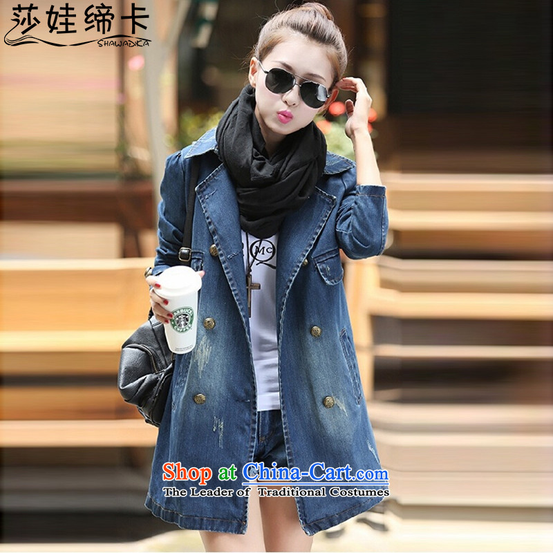 Elisabeth wa concluded large card XXXL ladies casual cowboy windbreaker jacket to increase female autumn and winter female fat girl who graphics thin, XL LADIES CARDIGAN blue large XL 130 to 145 catties can penetrate