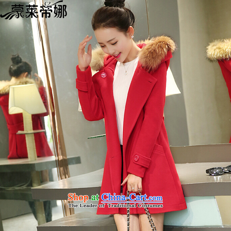 The 2015 Dili Blair Monrovia autumn and winter new Korean version?? jacket coat girl in gross long thin Foutune of Sau San video? coats female 792 gross RED M