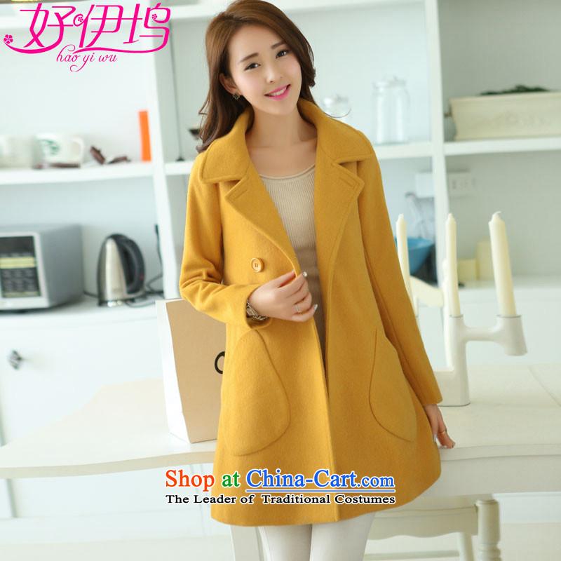 Good El docking�15 autumn and winter New Women Korean Sau San cloak? butted long wool fleece a wool coat 1562 turmeric yellow燲XL
