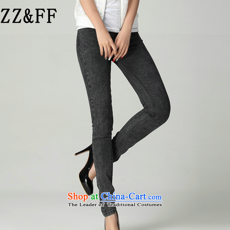 The autumn 2015 new Zz_ff Korean large loose trousers female elastic cowboy castor thick MM thin gray trousers燲XXL graphics