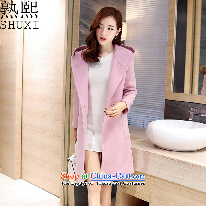 Cooked-hee autumn and winter 2015 new coats female Sau San won? Edition gross coats girls jacket? Long T-8912 pinkL