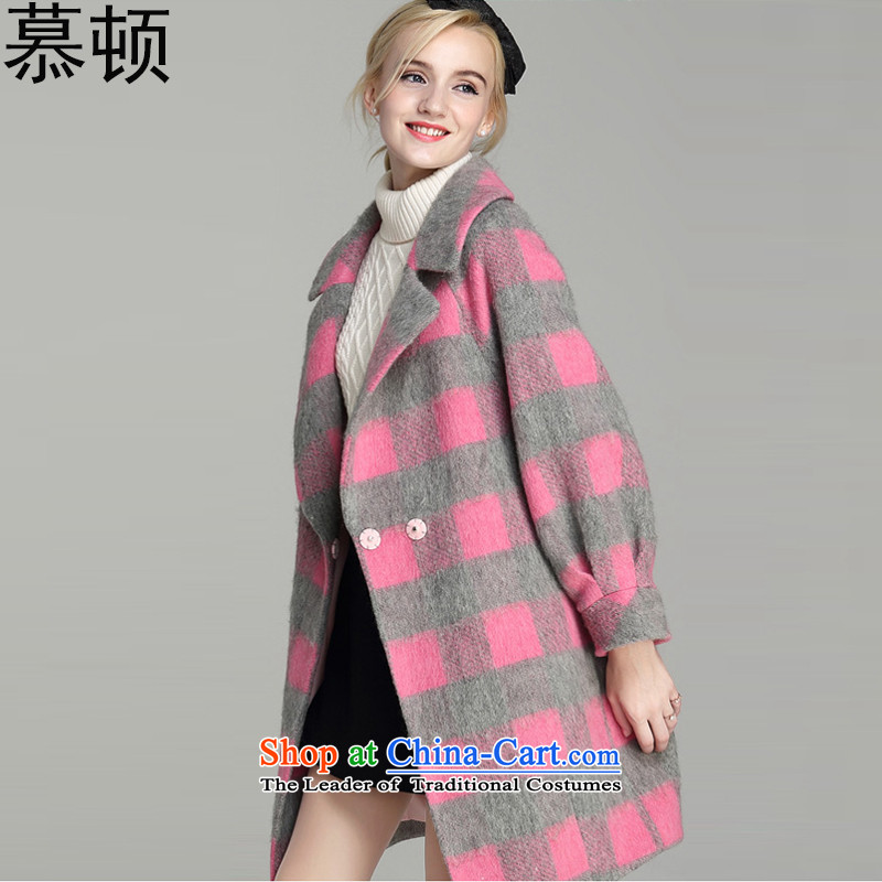 The jacket coat of gross Clinton? female Fall_Winter Collections new Korean video in thin long Sau San_? Q586 sub-pink?L