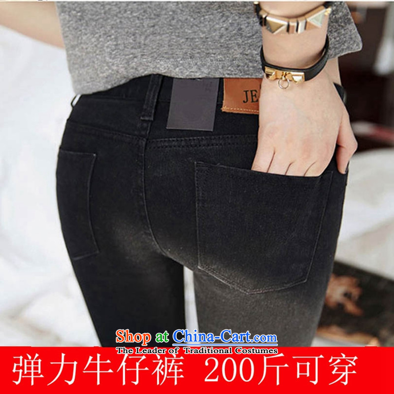 Load New autumn 2015 Korean version of large numbers of ladies thick MM thick, Hin thin loose pants, thick sister pencil pants 200 catties jeans and black trousers燲XXXXL castors
