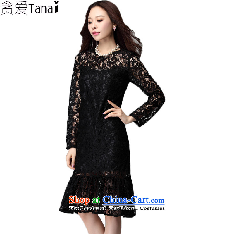 Indulge large long-sleeved blouses and lace dresses Korean version installed on thin mm autumn new billowy flounces and bows service pack Black燲XXL