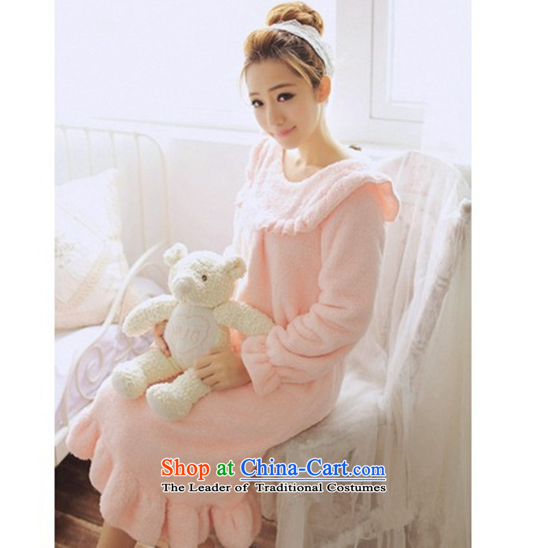 2015 Autumn Winter Korean to increase women's code thick mm thick thick long-sleeved sister relaxd bathrobe homewear 200 catties of autumn lovely pajamas Bubblegum Pink Color XXXL165-200 catty