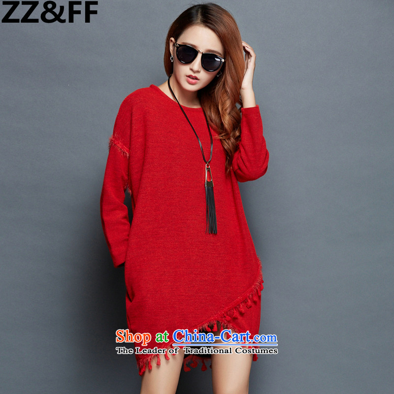 2015 Autumn and winter Zz_ff new larger female thick mm irregular flows of long-sleeved loose video lanterns skirt thin dresses wine red燲XXXXL_ recommendations 180-200 catties_