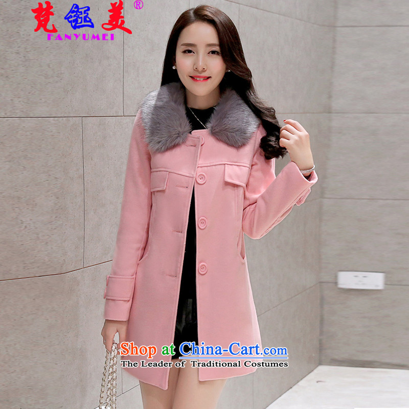 Mr TSANG Yok-mei�15, Van Gogh autumn and winter load new product version won for a sweet gross coats that Long Hair Girl 3021 pink jacket?燤