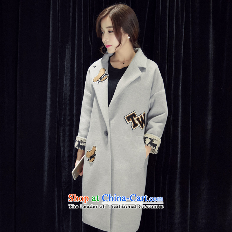 In the long hair of Korea? coats female version wool 2015 autumn and winter female new thick?? The large relaxd casual video thin horny-Sau San Mao jacket燺thick plus? cotton, light gray_ M-108 catty - 120 catties