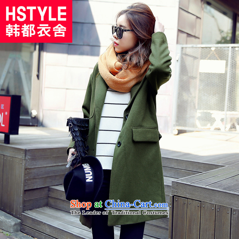 Korea has the Korean version of the Dag Hammarskjöld yi 2015 winter clothing new women's solid color graphics in long loose thin coat AA4312 gross? olive green 2 s