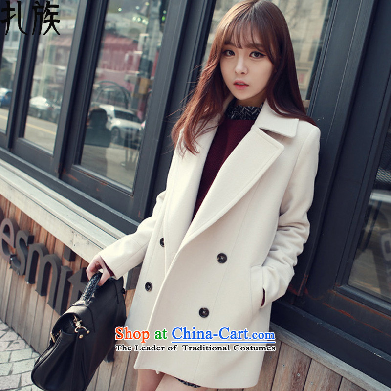 Tie-wool coat female jacket won? Edition cashmere windbreaker, long winter 2015 New WhiteS