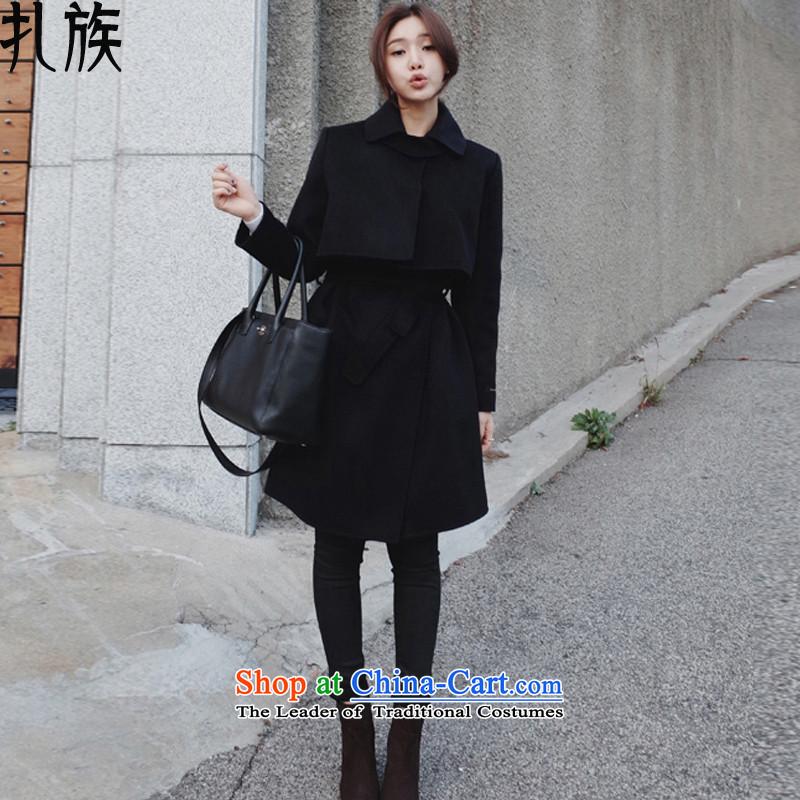 Tie-wool coat female jacket won? Edition cashmere windbreaker, long winter 2015 new blackS