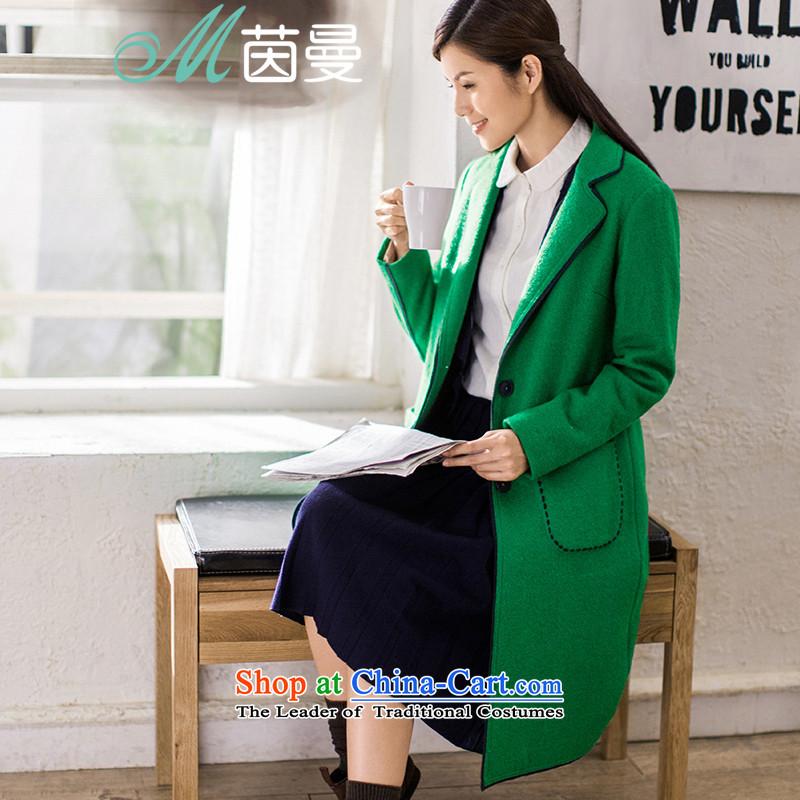 Athena Chu Cayman�15 winter clothing new minimalist pure color long coats_? Mobile sutures minimalist coats female _8543210120?- Grass green燤