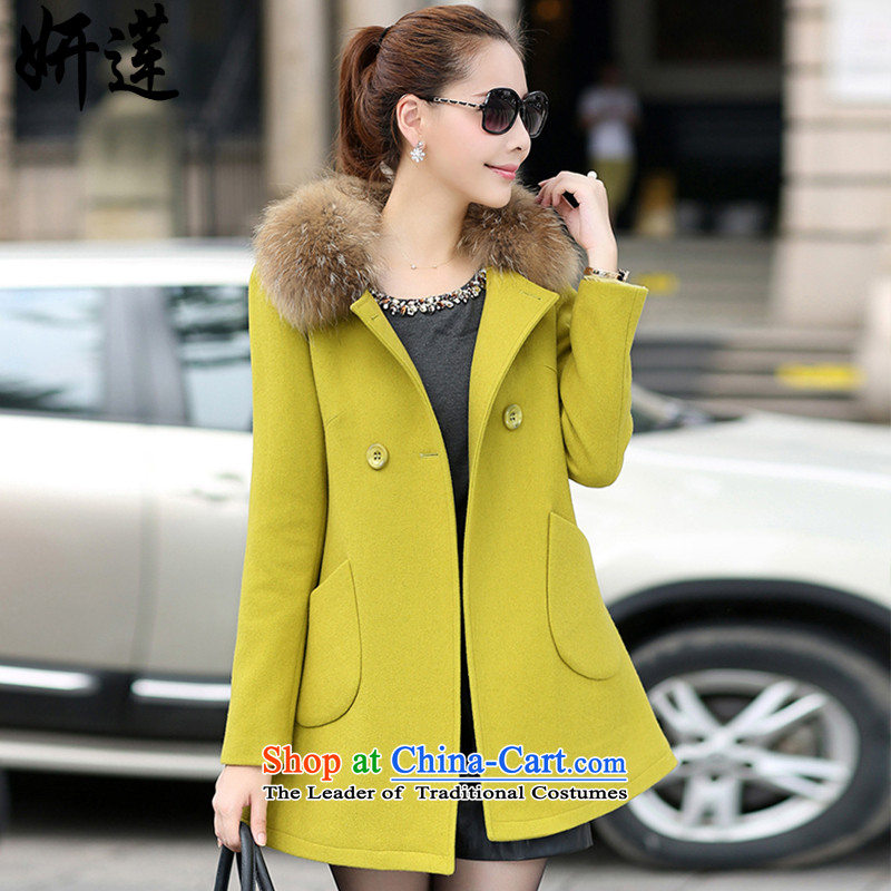 Charlene Choi Lin 2015 autumn and winter new larger female graphics thin coat in the female long?_ jacket coat? female gross燳135燣EMON YELLOW燲L