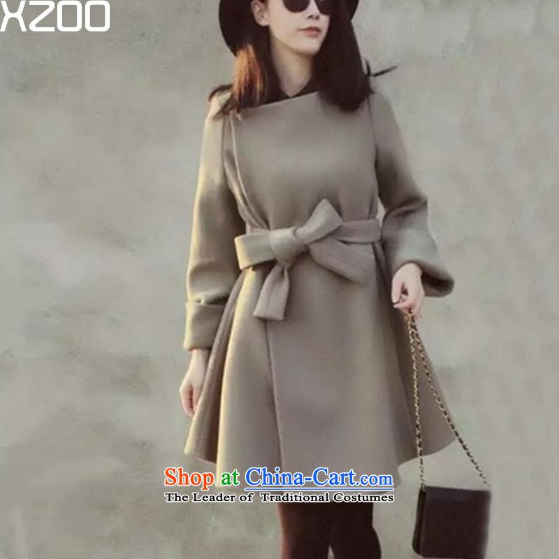 Wool coat women XZOO? Korean jacket cashmere windbreaker. Long Winter 2015 new grayS